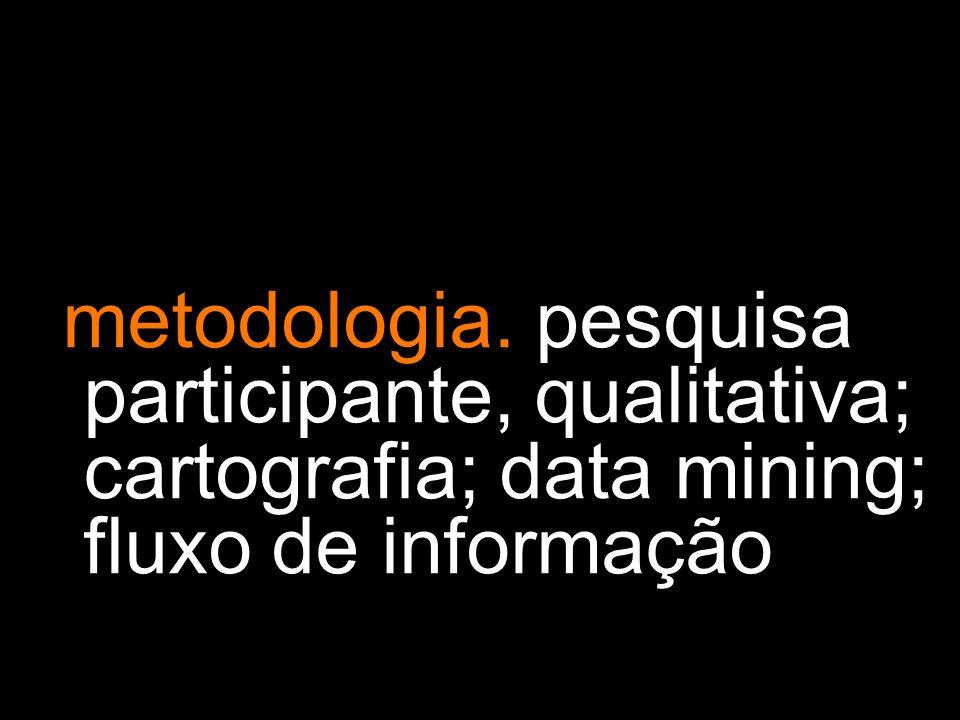 metodologia. pesquisa participante, qualitativa; cartografia; data mining; fluxo de informação