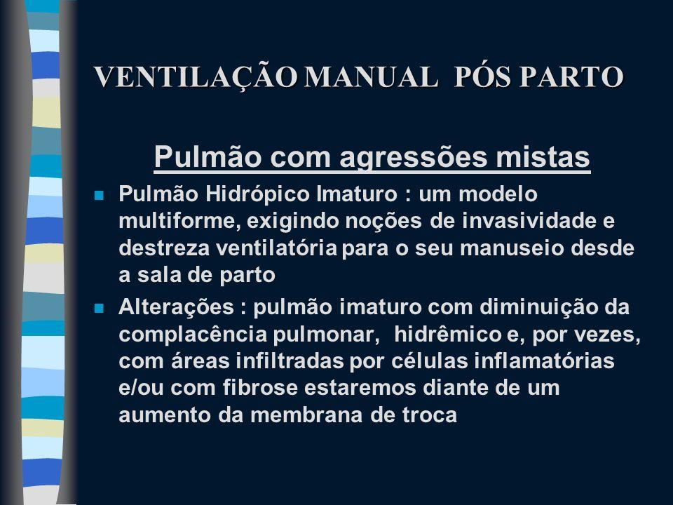 VENTILAÇÃO MANUAL PÓS PARTO Pulmão com agressões mistas n Pulmão Hidrópico Imaturo : um modelo multiforme, exigindo noções de invasividade e destreza