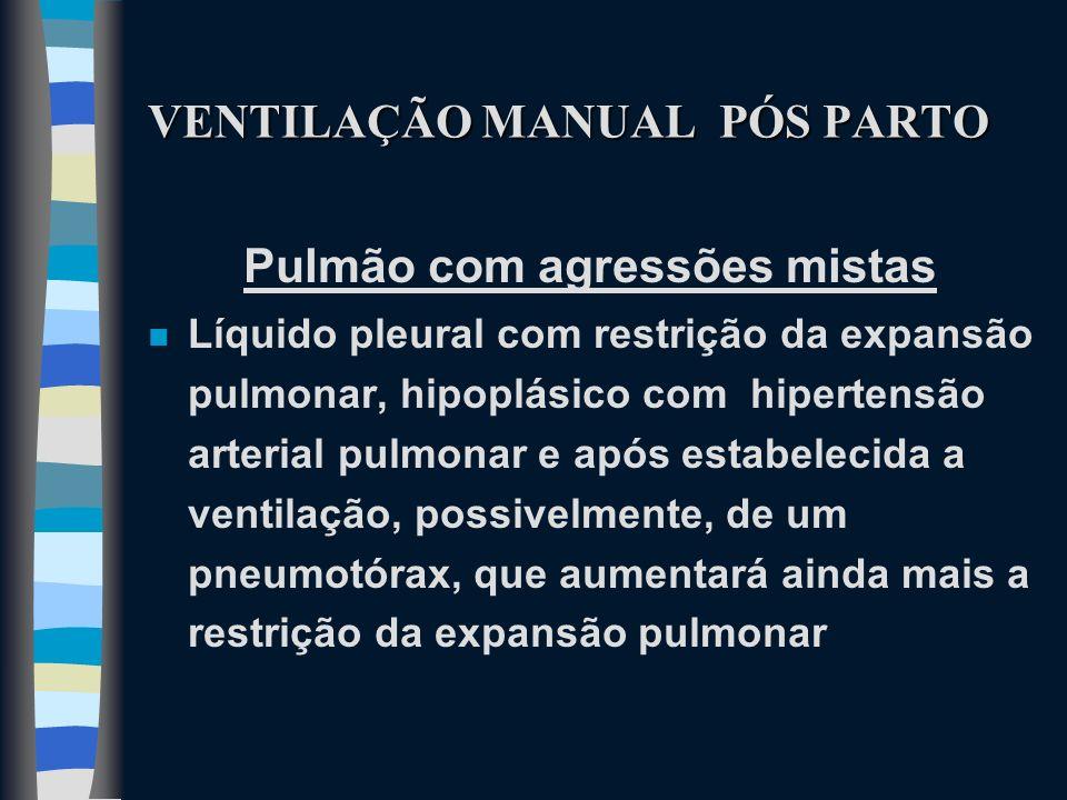 VENTILAÇÃO MANUAL PÓS PARTO Pulmão com agressões mistas n Líquido pleural com restrição da expansão pulmonar, hipoplásico com hipertensão arterial pul