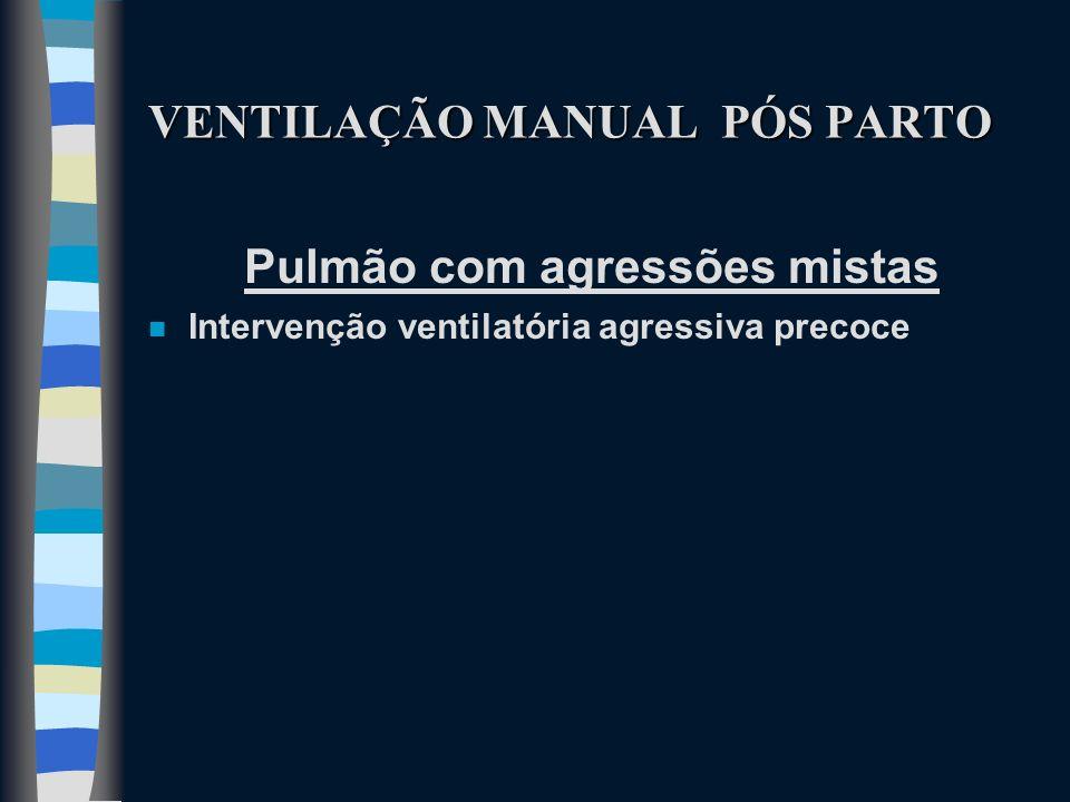 VENTILAÇÃO MANUAL PÓS PARTO Pulmão com agressões mistas n Intervenção ventilatória agressiva precoce