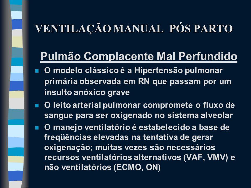 VENTILAÇÃO MANUAL PÓS PARTO Pulmão Complacente Mal Perfundido n O modelo clássico é a Hipertensão pulmonar primária observada em RN que passam por um