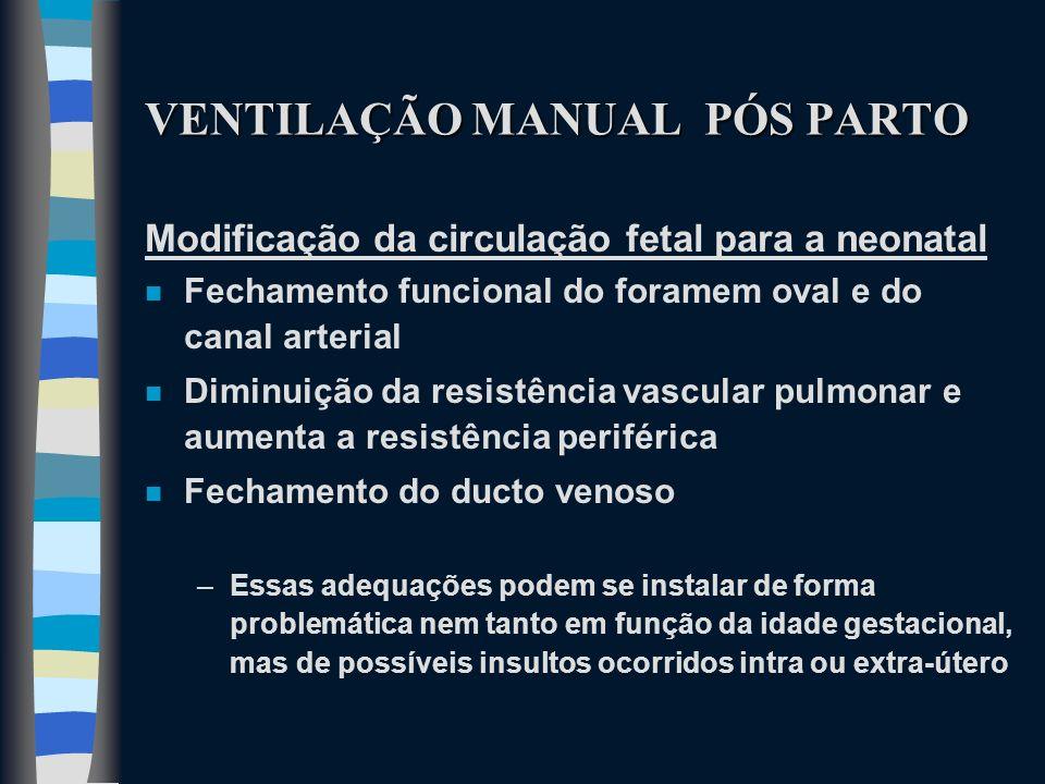 VENTILAÇÃO MANUAL PÓS PARTO Modificação da circulação fetal para a neonatal n Fechamento funcional do foramem oval e do canal arterial n Diminuição da