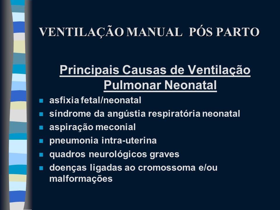 VENTILAÇÃO MANUAL PÓS PARTO Principais Causas de Ventilação Pulmonar Neonatal n asfixia fetal/neonatal n síndrome da angústia respiratória neonatal n