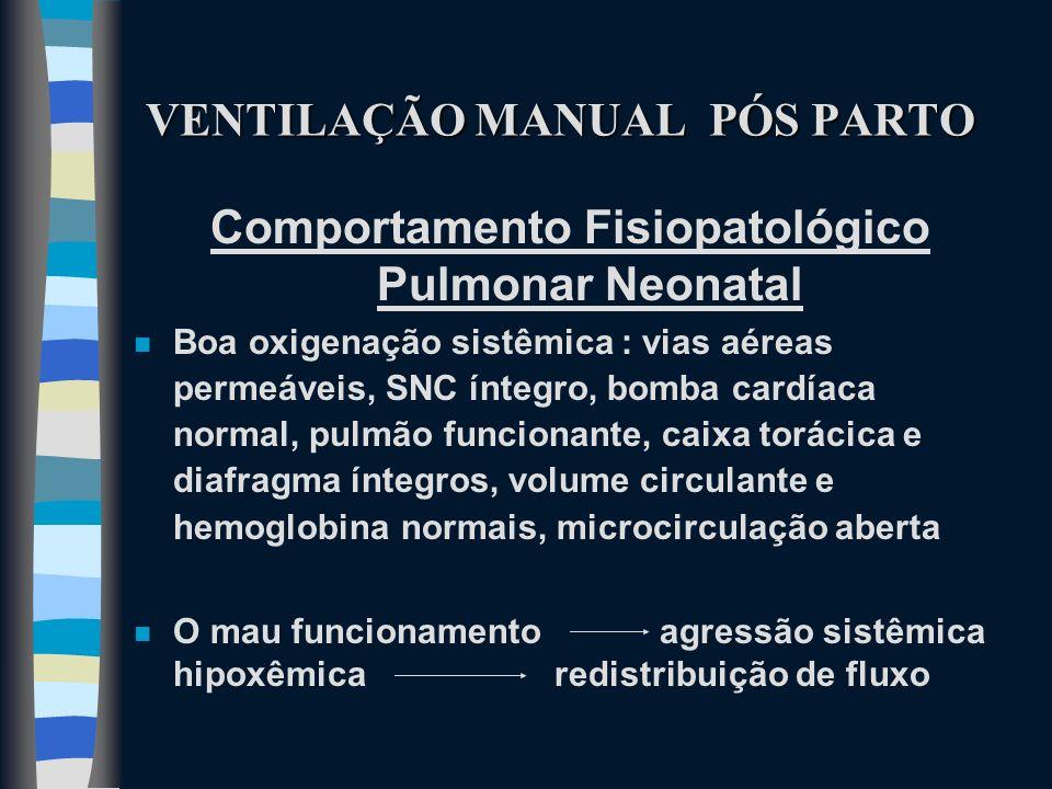 VENTILAÇÃO MANUAL PÓS PARTO Comportamento Fisiopatológico Pulmonar Neonatal n Boa oxigenação sistêmica : vias aéreas permeáveis, SNC íntegro, bomba ca