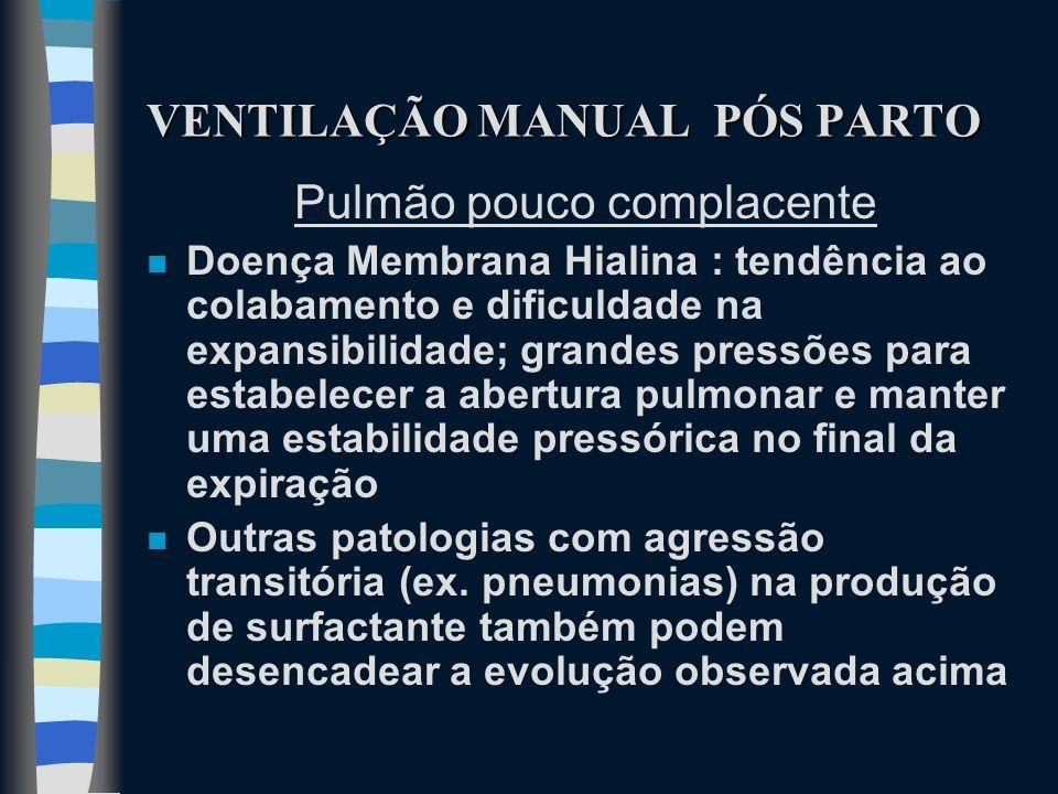 VENTILAÇÃO MANUAL PÓS PARTO Pulmão pouco complacente n Doença Membrana Hialina : tendência ao colabamento e dificuldade na expansibilidade; grandes pr