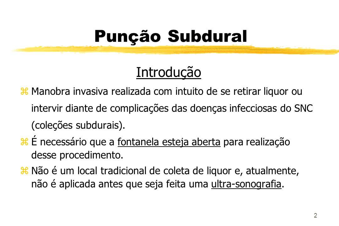 3 Punção Subdural zagulha20;11/2 polegada zlidocaína 1% zsolução de povidine 10% z seringa de 3 ml e agulhas para anestesia z luvas estéreis z campos cirúrgicos z tubos para coleta de exames Materia l