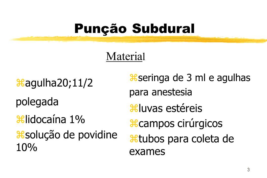 3 Punção Subdural zagulha20;11/2 polegada zlidocaína 1% zsolução de povidine 10% z seringa de 3 ml e agulhas para anestesia z luvas estéreis z campos