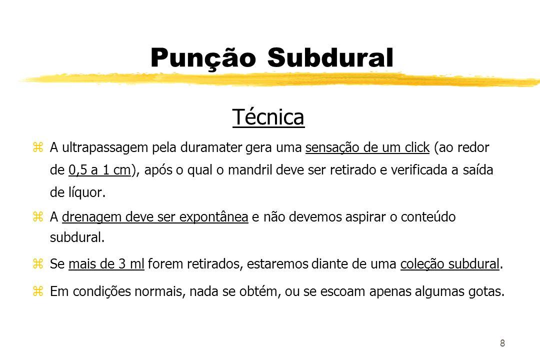 8 Punção Subdural Técnica zA ultrapassagem pela duramater gera uma sensação de um click (ao redor de 0,5 a 1 cm), após o qual o mandril deve ser retir