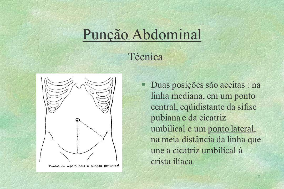 9 Punção Abdominal Técnica §A punção é realizada apoiando-se a ponta do trocater no local anestesiado, de forma perpendicular a parede, e gerar uma pressão contínua e brusca através da parede, até que haja a penetração na cavidade.