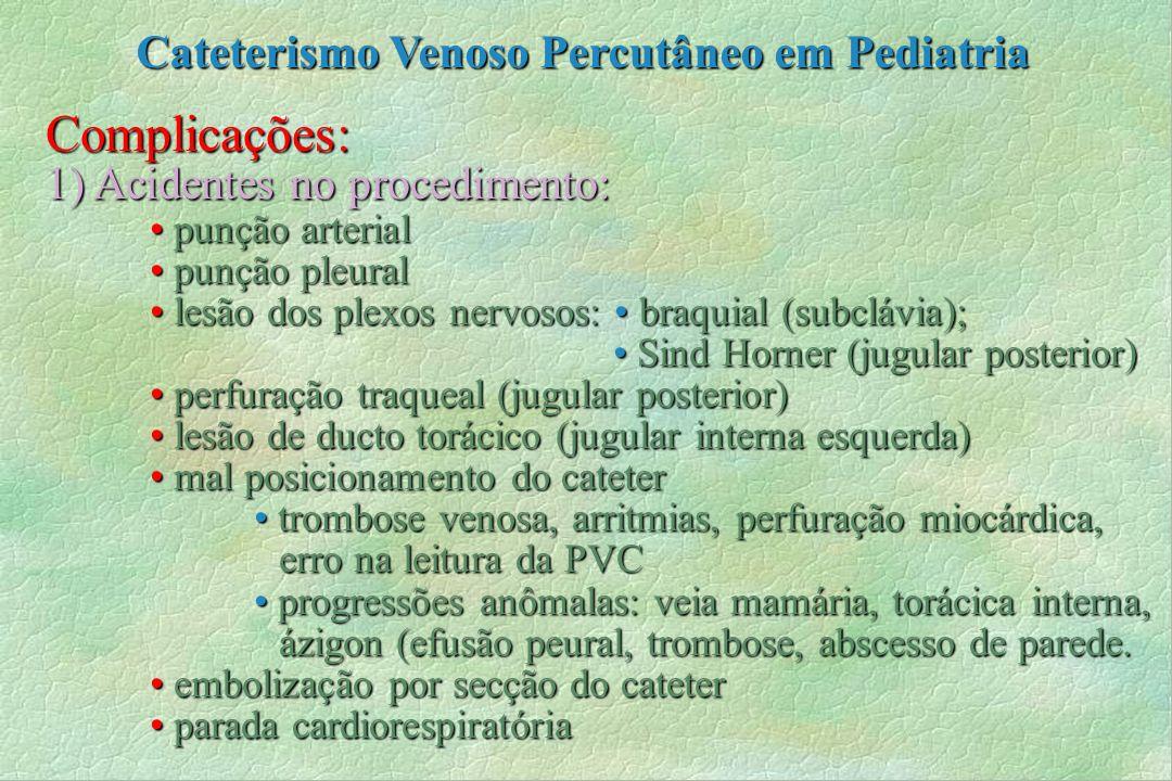 Complicações: 1) Acidentes no procedimento: punção arterial punção arterial punção pleural punção pleural lesão dos plexos nervosos: braquial (subcláv
