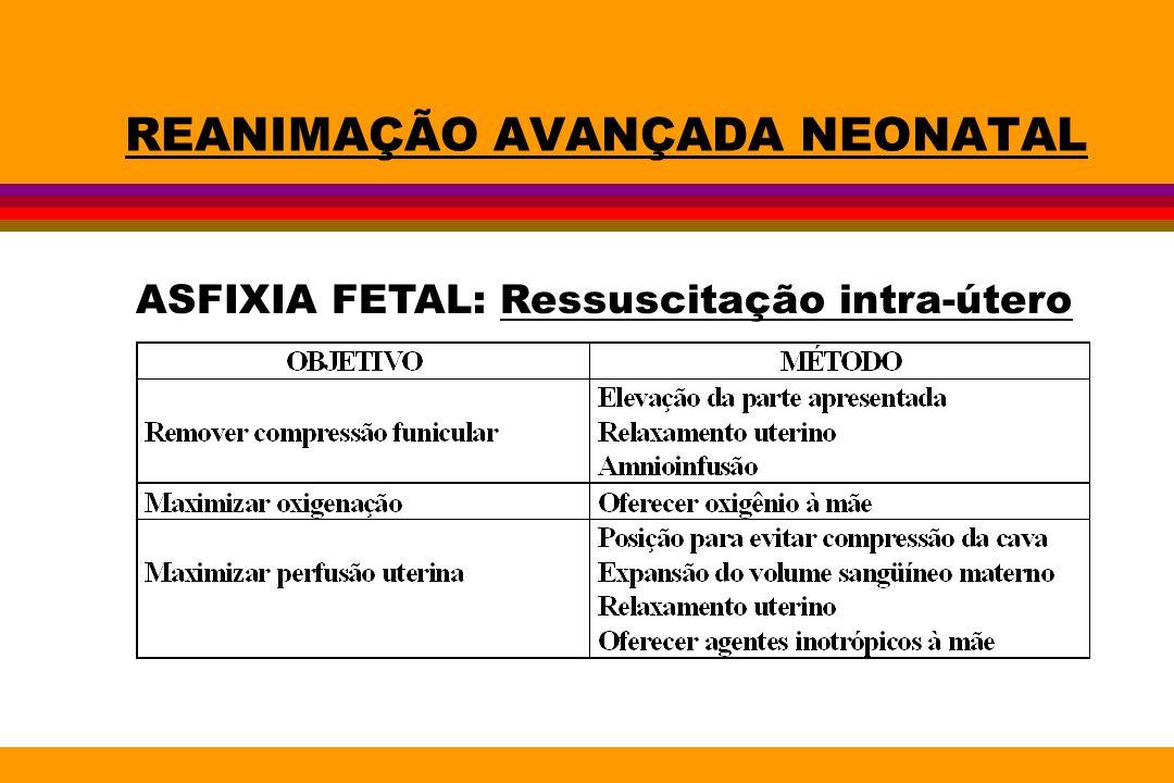 REANIMAÇÃO AVANÇADA NEONATAL ASFIXIA FETAL: Ressuscitação intra-útero