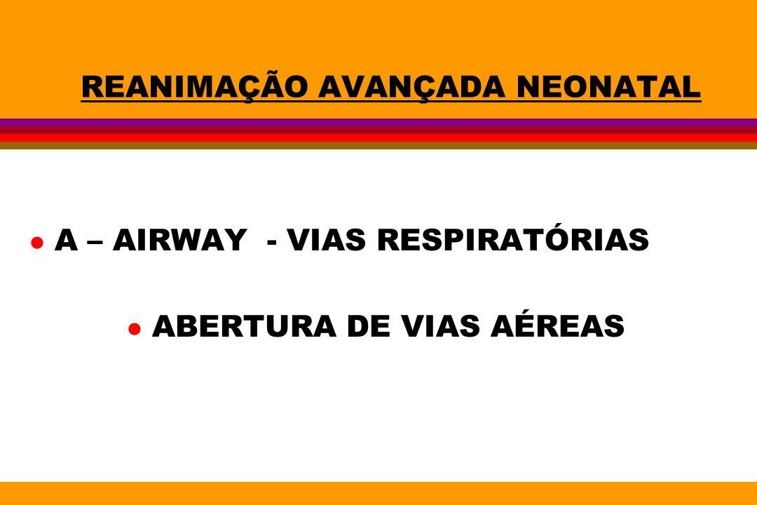 REANIMAÇÃO AVANÇADA NEONATAL l A – AIRWAY - VIAS RESPIRATÓRIAS l ABERTURA DE VIAS AÉREAS