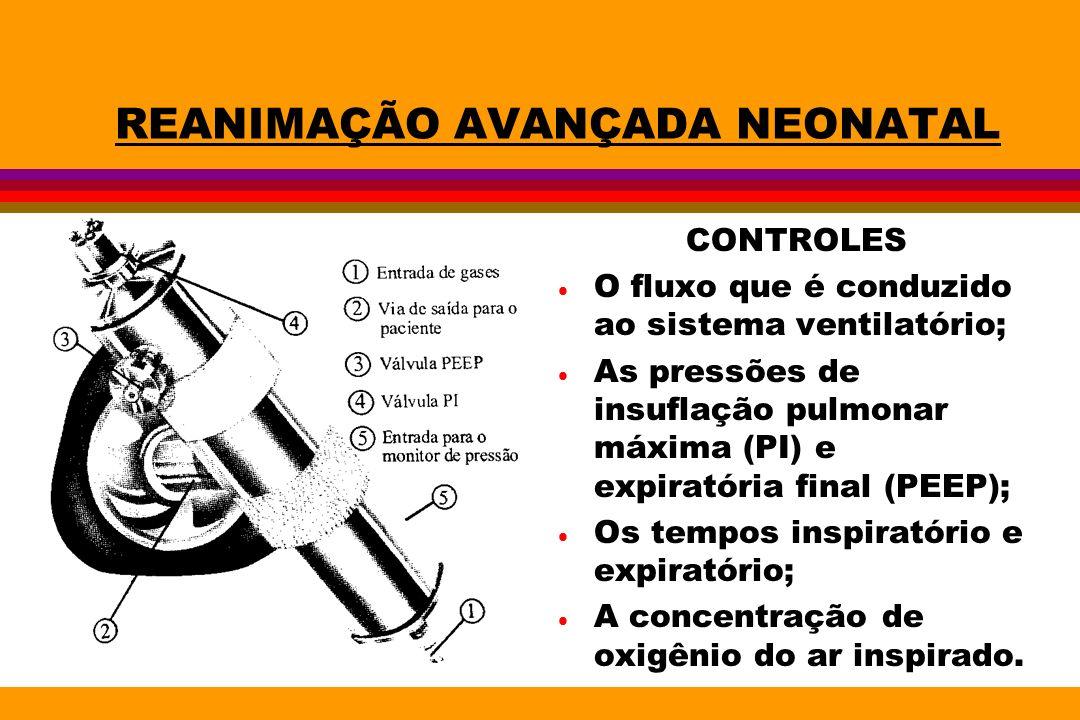 REANIMAÇÃO AVANÇADA NEONATAL CONTROLES O fluxo que é conduzido ao sistema ventilatório; As pressões de insuflação pulmonar máxima (PI) e expiratória f