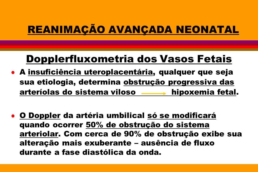REANIMAÇÃO AVANÇADA NEONATAL Dopplerfluxometria dos Vasos Fetais Centralização : é a redistribuição de fluxo sangüíneo para áreas nobres.