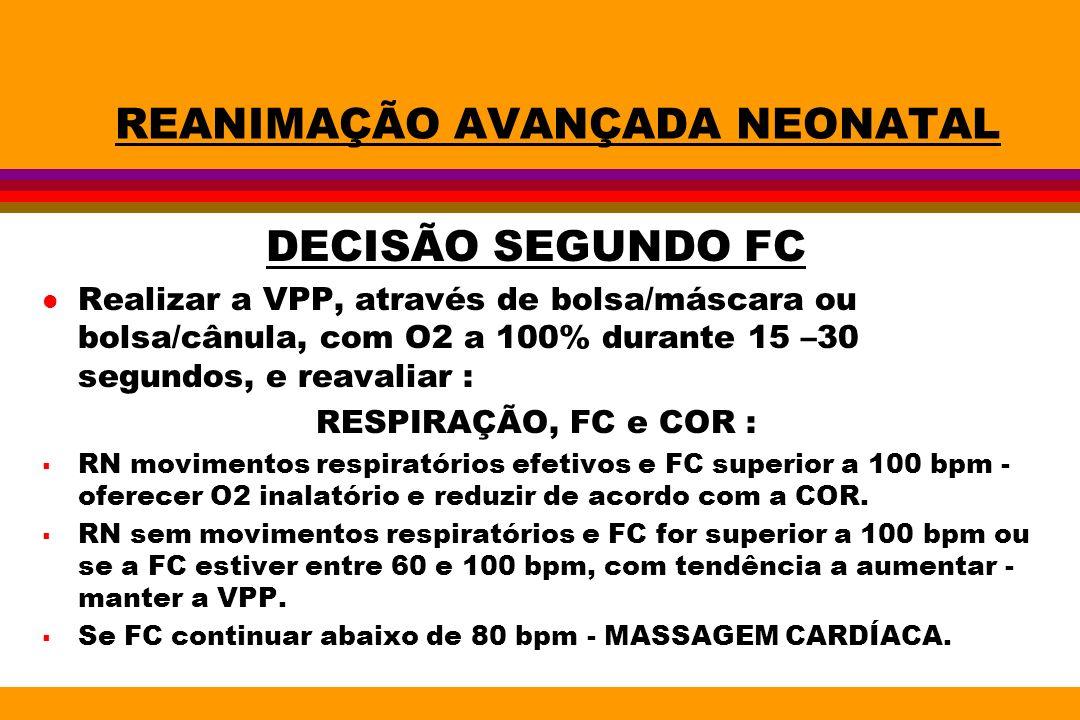 REANIMAÇÃO AVANÇADA NEONATAL DECISÃO SEGUNDO FC l Realizar a VPP, através de bolsa/máscara ou bolsa/cânula, com O2 a 100% durante 15 –30 segundos, e r