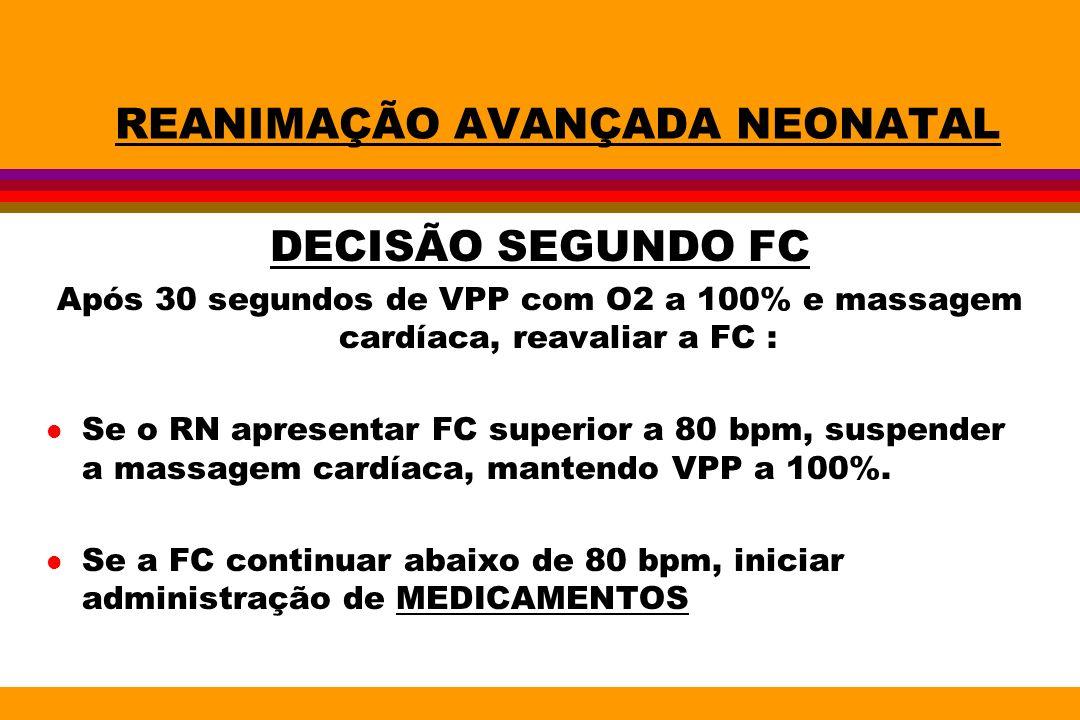 REANIMAÇÃO AVANÇADA NEONATAL DECISÃO SEGUNDO FC Após 30 segundos de VPP com O2 a 100% e massagem cardíaca, reavaliar a FC : l Se o RN apresentar FC su