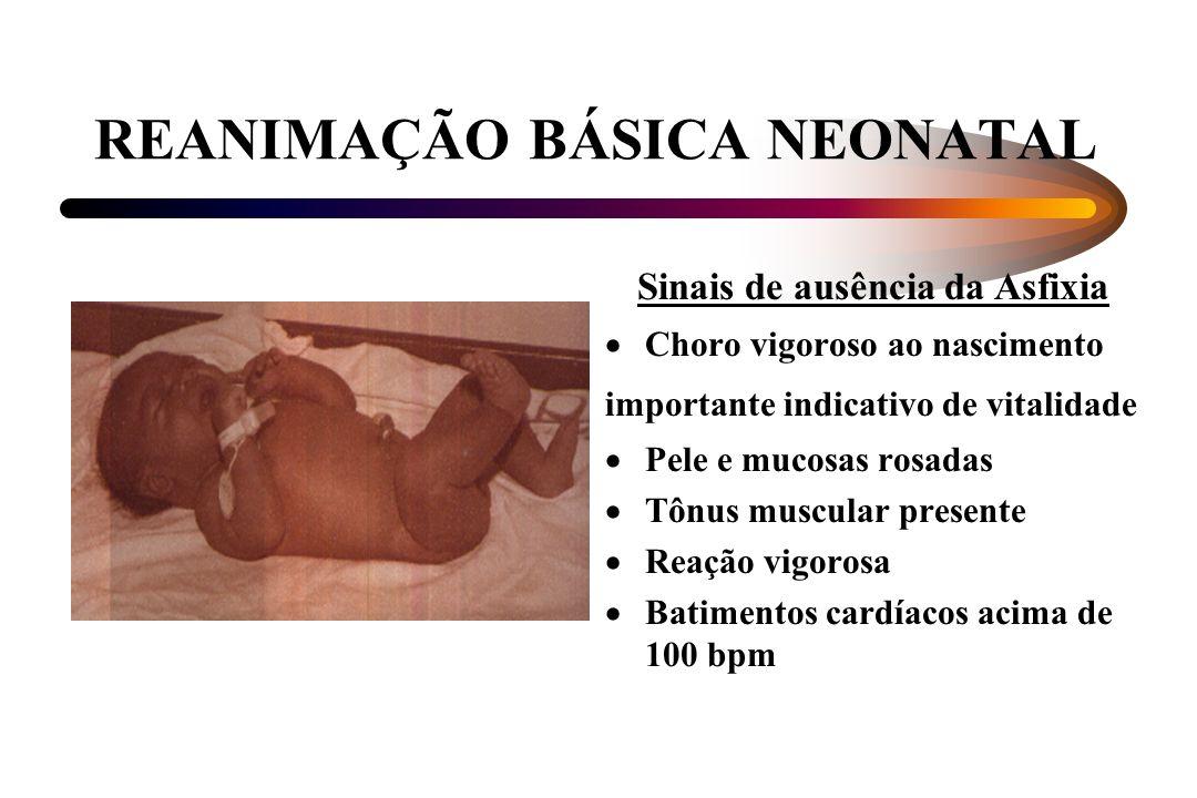 REANIMAÇÃO BÁSICA NEONATAL Sinais de ausência da Asfixia Choro vigoroso ao nascimento importante indicativo de vitalidade Pele e mucosas rosadas Tônus