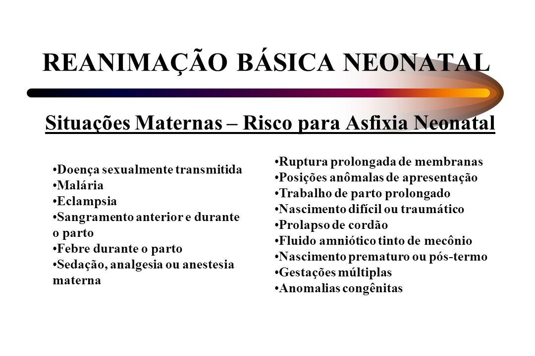 REANIMAÇÃO BÁSICA NEONATAL Situações Maternas – Risco para Asfixia Neonatal Doença sexualmente transmitida Malária Eclampsia Sangramento anterior e du