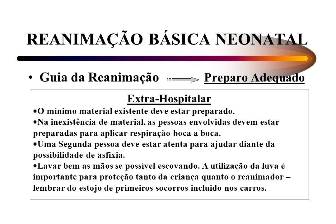 REANIMAÇÃO BÁSICA NEONATAL Guia da Reanimação Preparo Adequado Extra-Hospitalar O mínimo material existente deve estar preparado. Na inexistência de m