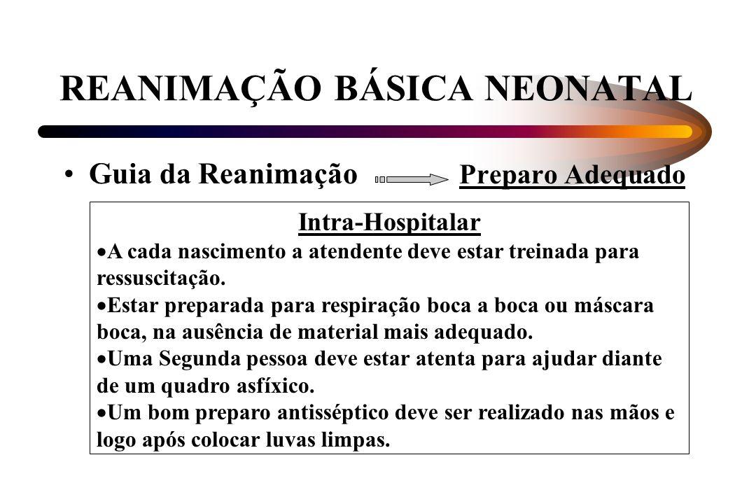 REANIMAÇÃO BÁSICA NEONATAL Guia da Reanimação Preparo Adequado Intra-Hospitalar A cada nascimento a atendente deve estar treinada para ressuscitação.