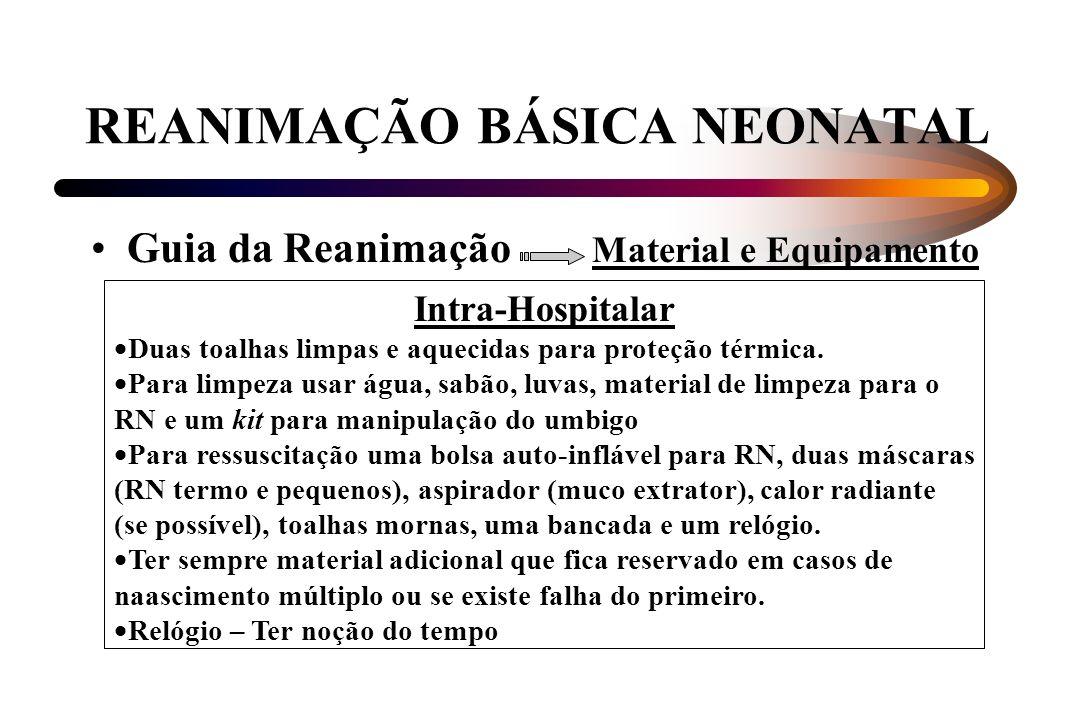 REANIMAÇÃO BÁSICA NEONATAL Guia da Reanimação Material e Equipamento Intra-Hospitalar Duas toalhas limpas e aquecidas para proteção térmica. Para limp