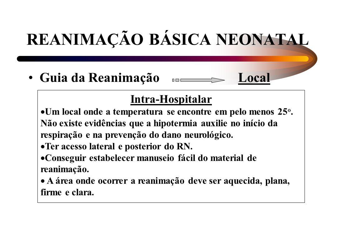 REANIMAÇÃO BÁSICA NEONATAL Guia da Reanimação Local Intra-Hospitalar Um local onde a temperatura se encontre em pelo menos 25 o. Não existe evidências