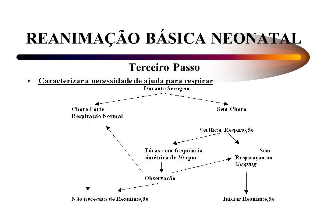 REANIMAÇÃO BÁSICA NEONATAL Terceiro Passo Caracterizar a necessidade de ajuda para respirar