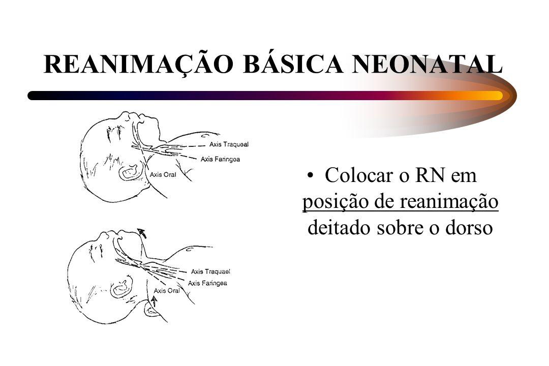 REANIMAÇÃO BÁSICA NEONATAL Colocar o RN em posição de reanimação deitado sobre o dorso