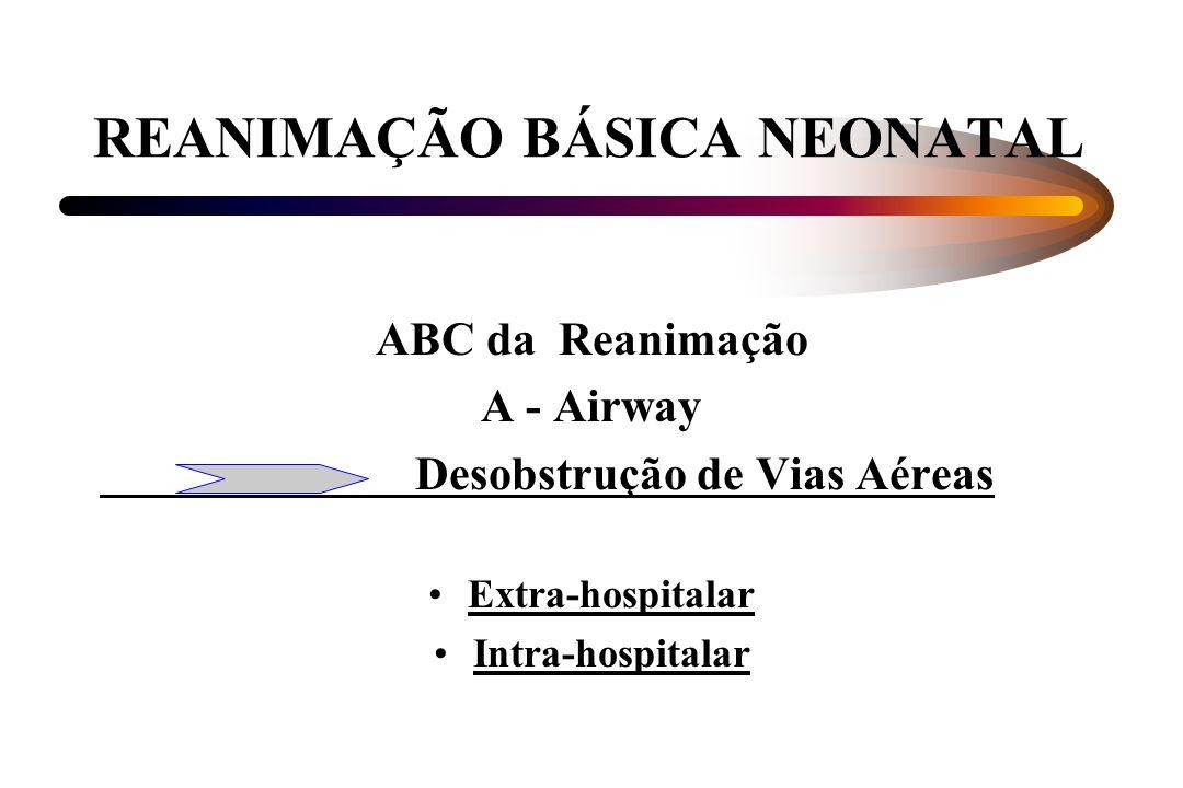 REANIMAÇÃO BÁSICA NEONATAL ABC da Reanimação A - Airway Desobstrução de Vias Aéreas Extra-hospitalar Intra-hospitalar
