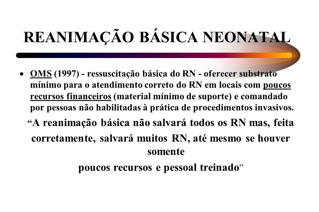 REANIMAÇÃO BÁSICA NEONATAL OMS (1997) - ressuscitação básica do RN - oferecer substrato mínimo para o atendimento correto do RN em locais com poucos r