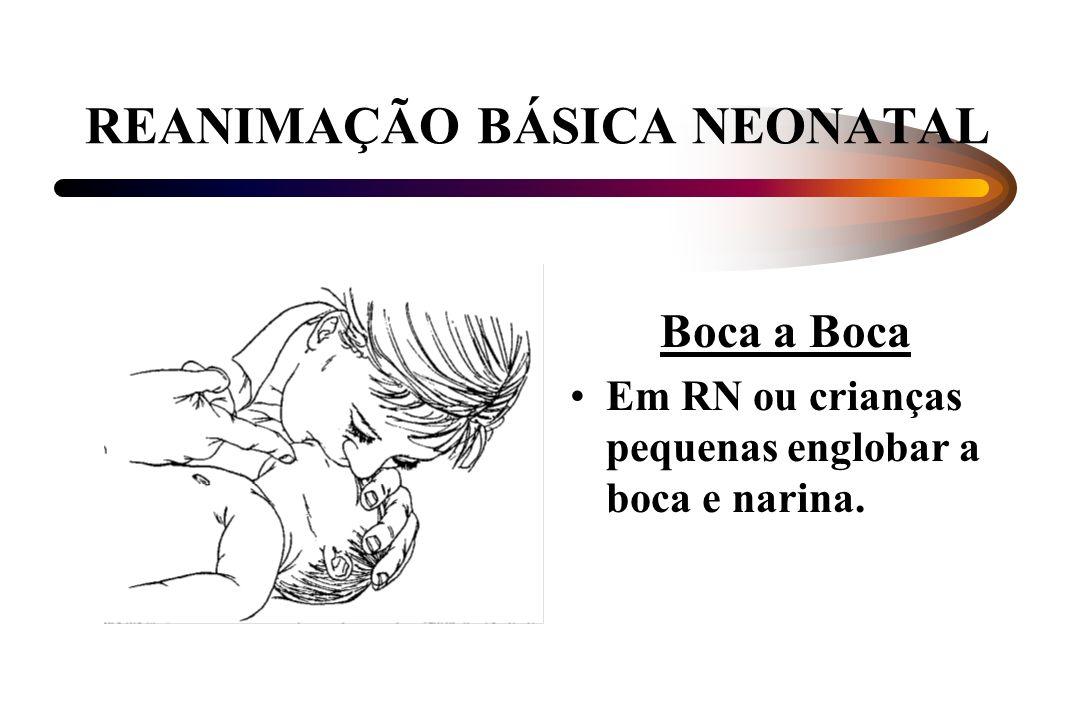 REANIMAÇÃO BÁSICA NEONATAL Boca a Boca Em RN ou crianças pequenas englobar a boca e narina.