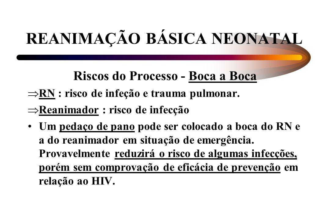 REANIMAÇÃO BÁSICA NEONATAL Riscos do Processo - Boca a Boca RN : risco de infeção e trauma pulmonar. Reanimador : risco de infecção Um pedaço de pano