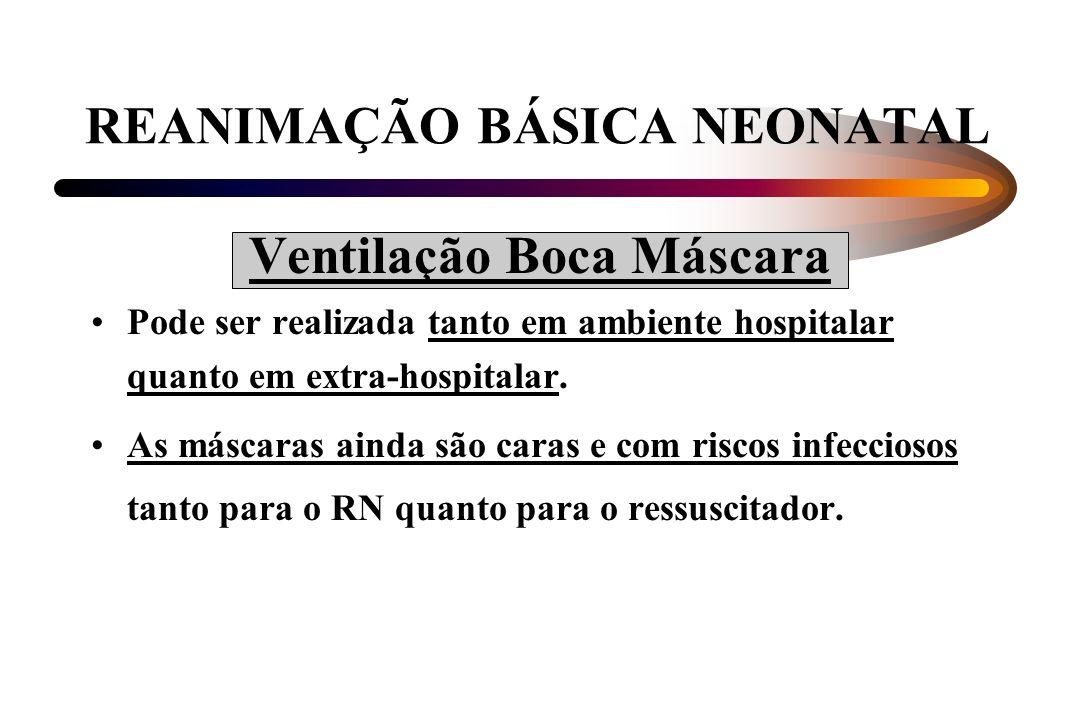 REANIMAÇÃO BÁSICA NEONATAL Ventilação Boca Máscara Pode ser realizada tanto em ambiente hospitalar quanto em extra-hospitalar. As máscaras ainda são c