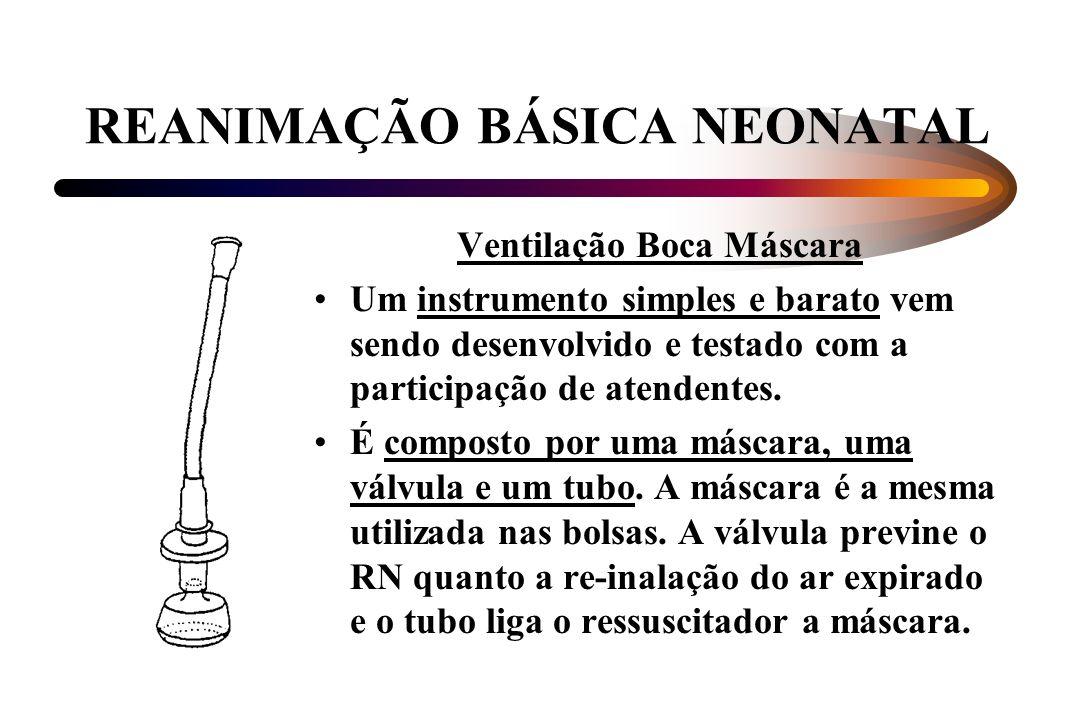 REANIMAÇÃO BÁSICA NEONATAL Ventilação Boca Máscara Um instrumento simples e barato vem sendo desenvolvido e testado com a participação de atendentes.