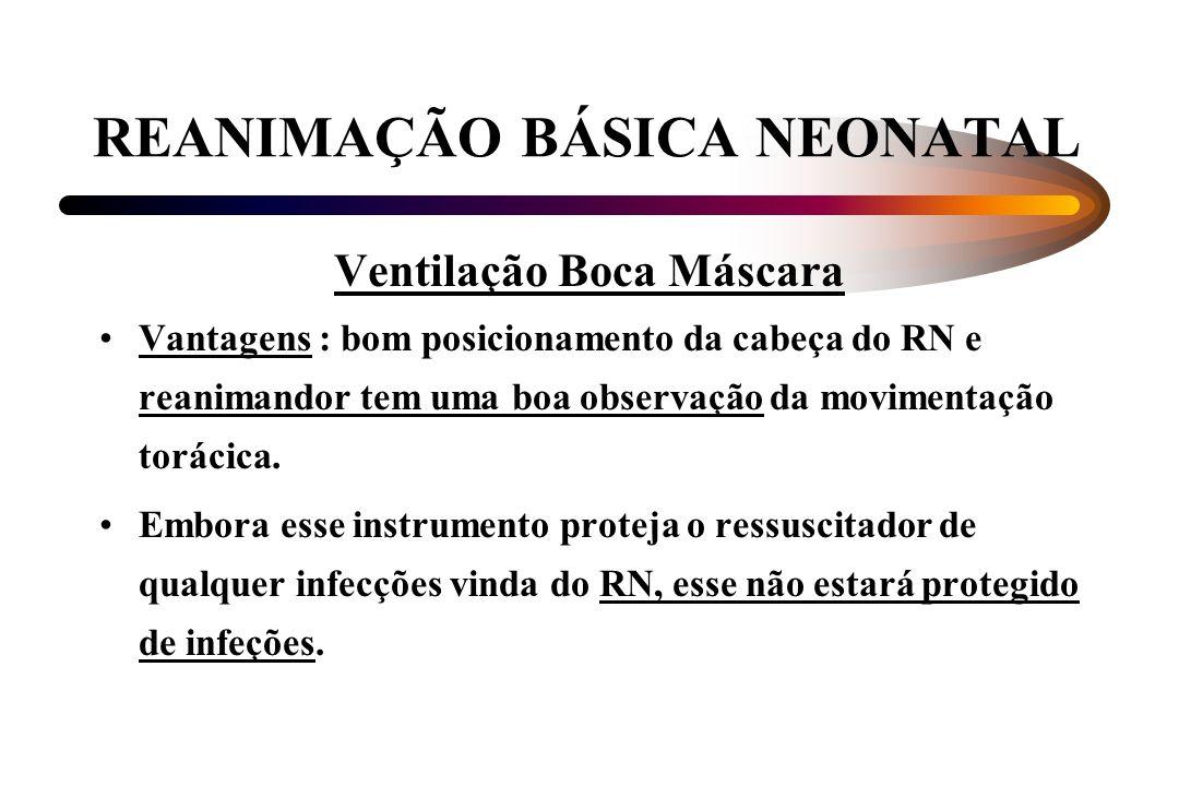 REANIMAÇÃO BÁSICA NEONATAL Ventilação Boca Máscara Vantagens : bom posicionamento da cabeça do RN e reanimandor tem uma boa observação da movimentação