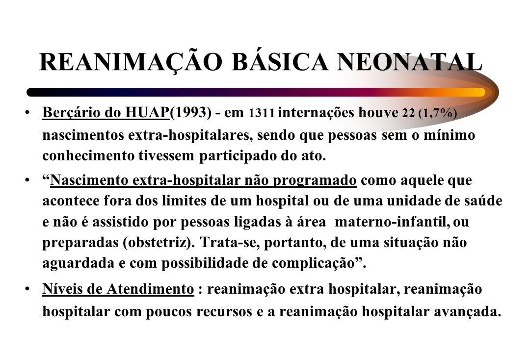 REANIMAÇÃO BÁSICA NEONATAL Berçário do HUAP(1993) - em 1311 internações houve 22 (1,7%) nascimentos extra-hospitalares, sendo que pessoas sem o mínimo