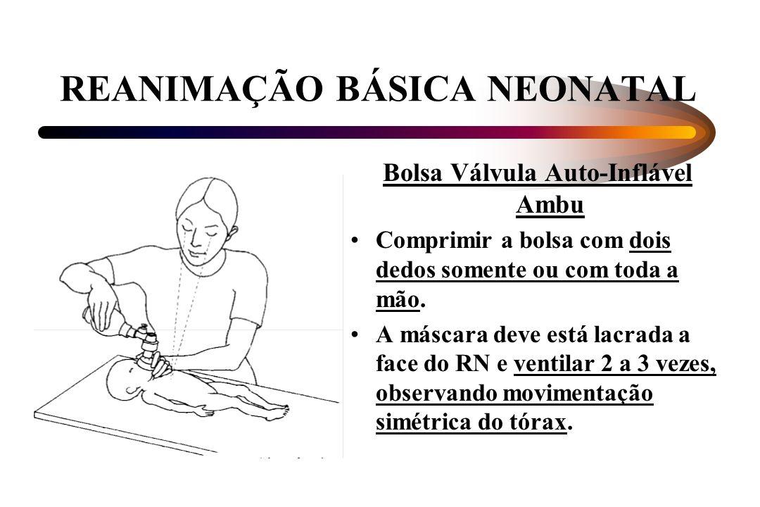 REANIMAÇÃO BÁSICA NEONATAL Bolsa Válvula Auto-Inflável Ambu Comprimir a bolsa com dois dedos somente ou com toda a mão. A máscara deve está lacrada a