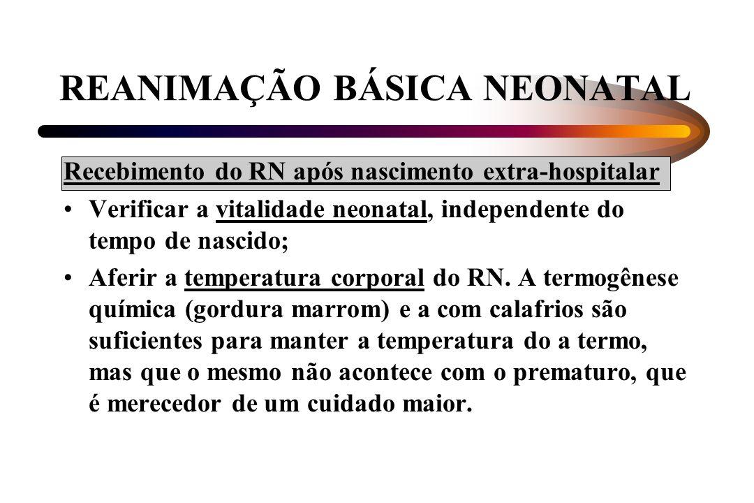 REANIMAÇÃO BÁSICA NEONATAL Recebimento do RN após nascimento extra-hospitalar Verificar a vitalidade neonatal, independente do tempo de nascido; Aferi