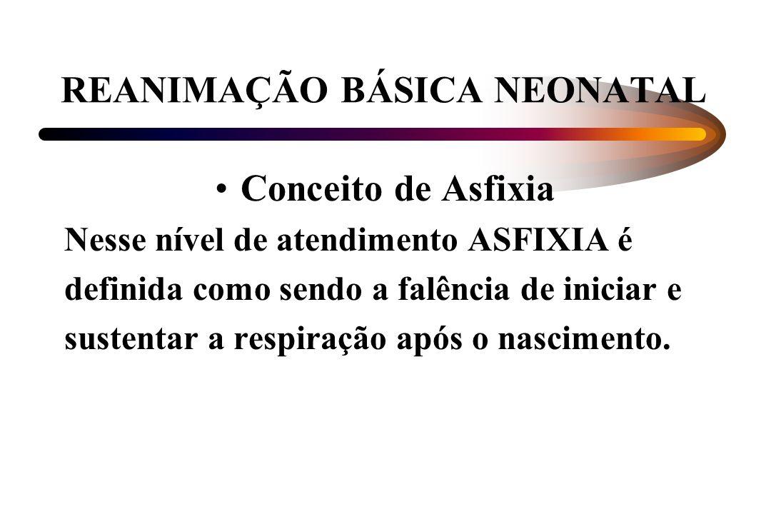 REANIMAÇÃO BÁSICA NEONATAL Conceito de Asfixia Nesse nível de atendimento ASFIXIA é definida como sendo a falência de iniciar e sustentar a respiração