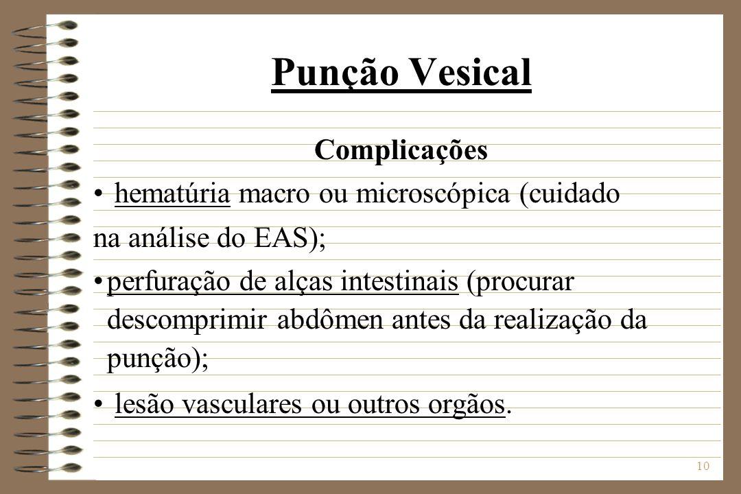 10 Punção Vesical Complicações hematúria macro ou microscópica (cuidado na análise do EAS); perfuração de alças intestinais (procurar descomprimir abd