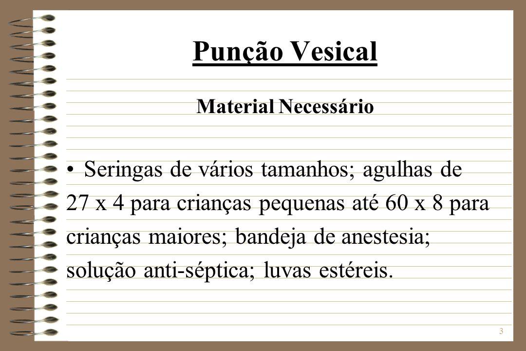 3 Punção Vesical Material Necessário Seringas de vários tamanhos; agulhas de 27 x 4 para crianças pequenas até 60 x 8 para crianças maiores; bandeja d