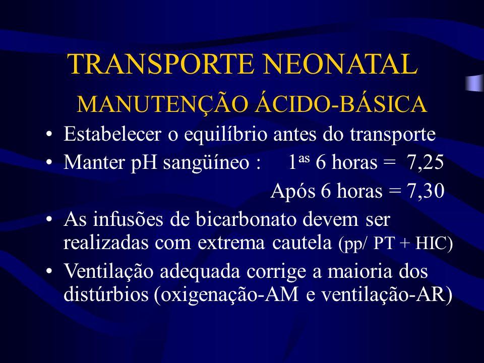 TRANSPORTE NEONATAL MANUTENÇÃO ÁCIDO-BÁSICA Estabelecer o equilíbrio antes do transporte Manter pH sangüíneo :1 as 6 horas = 7,25 Após 6 horas = 7,30
