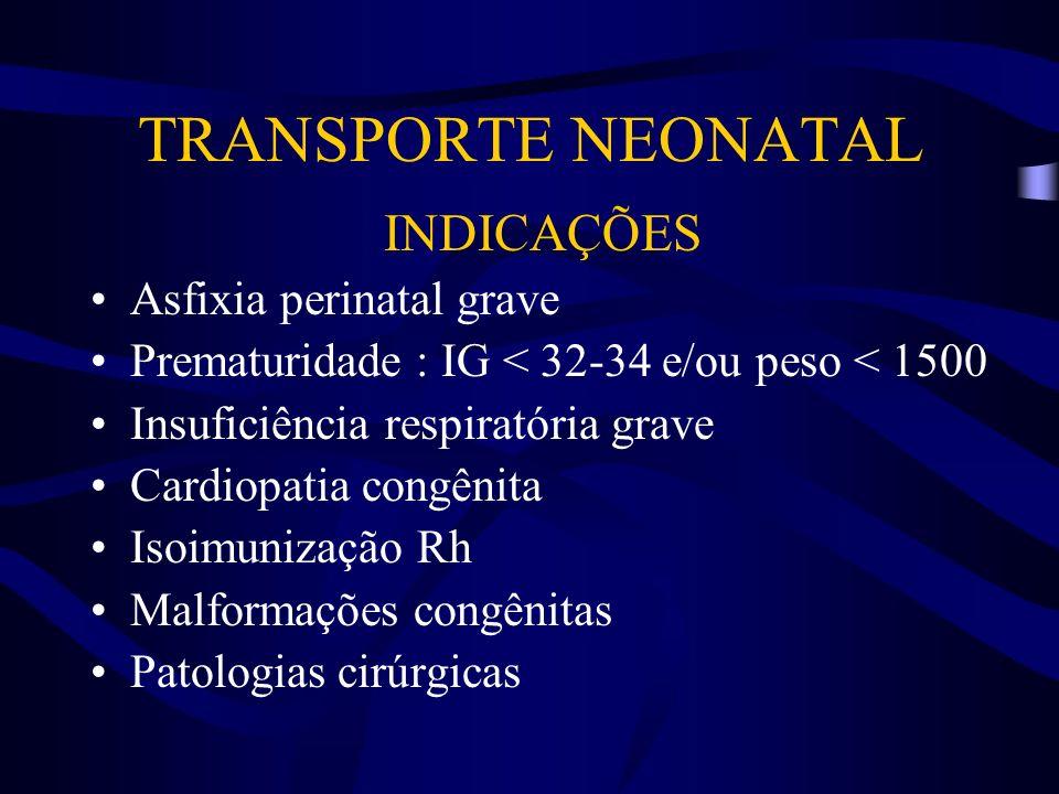 INDICAÇÕES Asfixia perinatal grave Prematuridade : IG < 32-34 e/ou peso < 1500 Insuficiência respiratória grave Cardiopatia congênita Isoimunização Rh