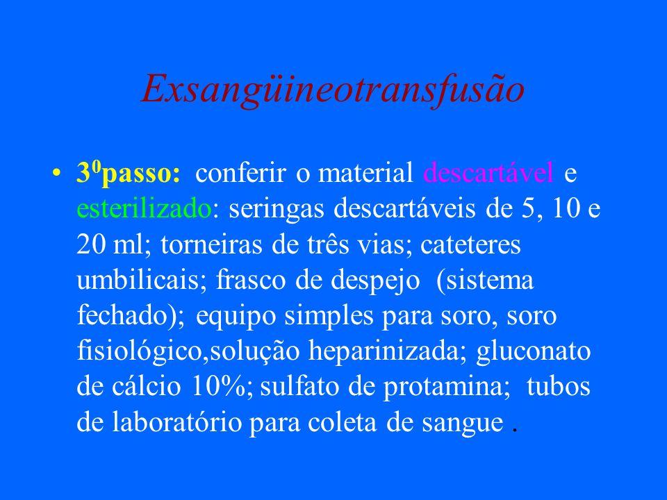 Exsangüineotransfusão 3 0 passo: conferir o material descartável e esterilizado: seringas descartáveis de 5, 10 e 20 ml; torneiras de três vias; catet