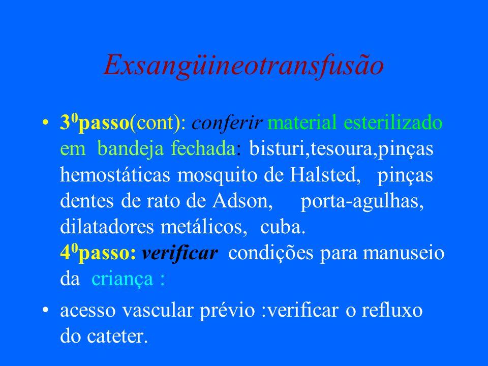 Exsangüineotransfusão 3 0 passo(cont): conferir material esterilizado em bandeja fechada: bisturi,tesoura,pinças hemostáticas mosquito de Halsted, pin