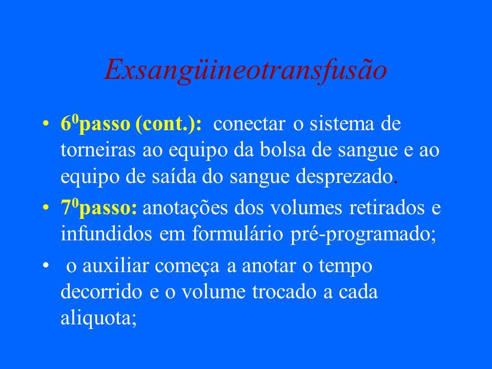 Exsangüineotransfusão 6 0 passo (cont.): conectar o sistema de torneiras ao equipo da bolsa de sangue e ao equipo de saída do sangue desprezado. 7 0 p