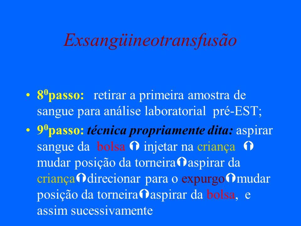 Exsangüineotransfusão 8 0 passo: retirar a primeira amostra de sangue para análise laboratorial pré-EST; 9 0 passo: técnica propriamente dita: aspirar