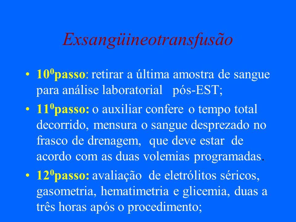 Exsangüineotransfusão 10 0 passo: retirar a última amostra de sangue para análise laboratorial pós-EST; 11 0 passo: o auxiliar confere o tempo total d