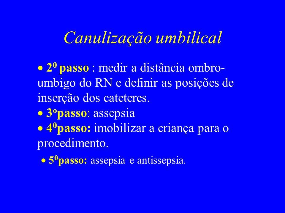 Canulização umbilical 2 0 passo : medir a distância ombro- umbigo do RN e definir as posições de inserção dos cateteres. 3 o passo: assepsia 4 0 passo