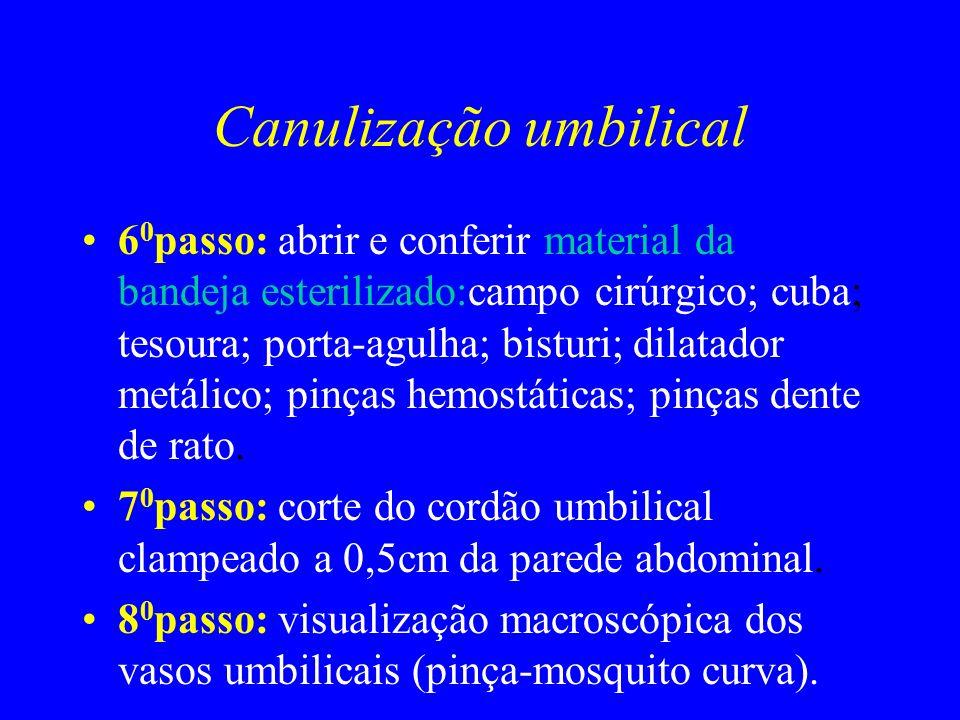 Canulização umbilical 6 0 passo: abrir e conferir material da bandeja esterilizado:campo cirúrgico; cuba; tesoura; porta-agulha; bisturi; dilatador me